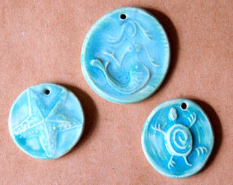 3 Handmade Ceramic Light Teal Beads - Ocean Assortment with mermaid, sea turtle and starfish