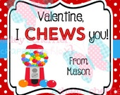 Valentine's Day Tag. I Chews You. Bubblegum. Gum.  Class Valentines. Printable Tag. PDF File.Personalized.Square Tag. Red