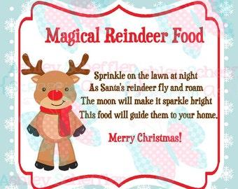 Reindeer Food. Reindeer. Christmas. Reindeer Food Tag. Printable. Favor Tags. Tag. Square Tag. Printable Tag. Instant Download. PDF file.