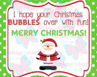 Santa Tag. Bubble Favor. Bubble Tag. Class Party. Teacher.  Christmas. Christmas.Tag. Square Tag. Instant Download. PDF file.