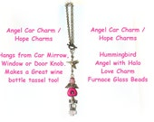 Rearview Mirror Angel ~ Angel Car Charm ~ Hummingbird Totem ~ Pink Angel ~ Strawberry Ice Angel -  O2015-03