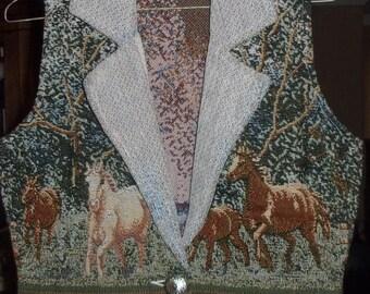Womens Vintage Southwestern Tapestry HORSE HORSES Vest-Southwest Canyon-sz Small