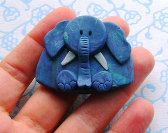 Polymer Clay Marbled Elephant Brooch or Magnet