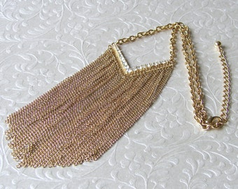 Waterfall Necklace Chain Fringe Rhinestone Chevron Statement Jewelry Bohemian Chic 90s Vintage Cleavage Choker Bib 20 Inch Mesh Chain Gold