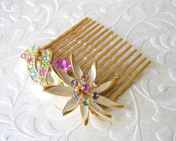 Spring Wedding Fruit Salad Rhinestone Hair Comb Pastel Flowers Vintage Jewelry Pink Blue Yellow Purple Green Prom Formal Bridal Accessory