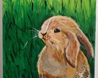 Baby Bunny in Grass Original Painting Collage