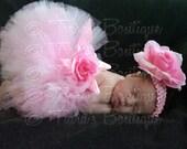 Pink Tutu, Baby Tutu, Pink Baby Tutu, Custom Sewn 6'' Infant Toddler Tutu and Headband Set, Lovey Dovey, newborn to 24 months