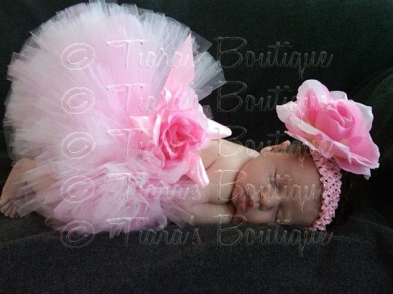 Pink Tutu, Baby Tutu, Pink Baby Tutu, Custom Sewn 6'' Infant Toddler Tutu and Headband Set, Lovey Dovey, newborn to 24 months