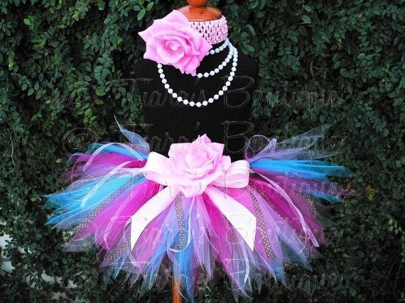 Pink Blue Brown Birthday Tutu, Girls Tutu Skirt w/ Ribbon Streamers, Cupcake Surprise, Sewn Pixie Tutu for Baby Infant Toddler Girls Tweens
