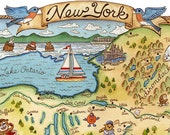 "New York State Map Art Print 16"" x 20"""