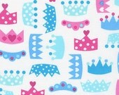 Princess Life, crowns in white by Ann Kelle Fabric by Robert Kaufman in Frost, yard
