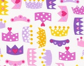 Princess Life Crowns in Spring Pink by Ann Kelle Fabric by Robert Kaufman, LAST 37 Inches