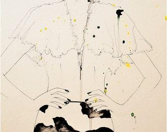 Seemingly - MaxMara F/W 11 - Art Print, Fashion Illustration, Mix Media Painting by Leigh Viner