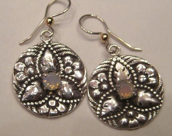 faceted Opal Floral Earrings .......  Sterling Silver .........      e759