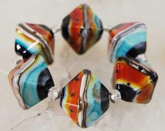 6 Large 'Organic Rubino Turquoise Crystals',  organic handmade glass beads, earthy lampwork beads by Beadfairy Lampwork, SRA