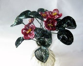 Marsala wildflowers, French beaded flowers, color changing maroon, brick red