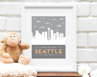 New Baby Gift, Personalized Seattle Skyline, Nursery Art, City Skyline, Personalized Seattle Poster, New Baby, Name in Lights, Baby Name