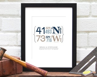 Hostess Gift, Travel Coordinates, Latitude Longitude, Personalized Gift For Wedding, Family Home Address, Anniversary for Him, 8x10 Print
