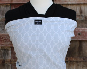 Ready To Ship-ORGANIC BAMBOO Baby Wrap Sling Carrier- Rectangle Quatrefoil on Black-Newborn through Toddler- DvD Included