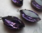 Amethyst Purple 18X9mm Navette Glass Drops 4 Pcs