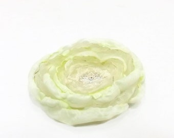 Victorian Shabby Chic Bridal Hair Flower Clip Pale Green
