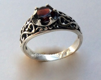 Silver ring, bohemian jewelry, garnet ring, filigree ring, gemstone ring, January birthstone ring, engagement ring -  You're beautiful R2115