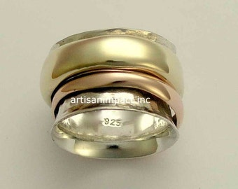 Wedding band, spinner ring, sterling silver ring, silver yellow rose gold ring,  meditation band, wide band - Wonderland forever. R1026A