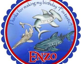 Shark Birthday party,Shark Stickers,Shark Frenzy, Whale shark, Hammerhead,Saw shark,great white,Ocean,under the sea,favor Stickers,set of 12