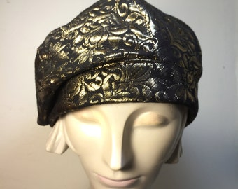 Black & Gold  Brocade Fabric Beret |Gold Beret- Black Beret | Packable Hat | Fall fashion Hat | Fashion Beret / Fall hat