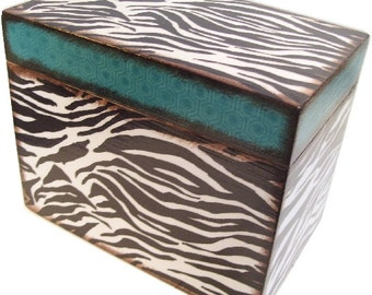 Wood Recipe Box, Personalized Couples Gift, Gift for Her, Zebra Print Recipe Box, Storage Organization, Holds 4x6 Cards, MADE TO ORDER