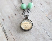 Blessed to be Irish Charm Necklace, Gunmetal chain, Inspirational, Green Mexican Aventurine
