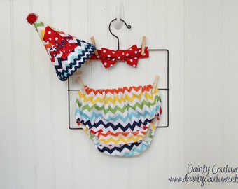 First Birthday Outfit - Hat, bow tie, diaper cover - Rainbow Chevron
