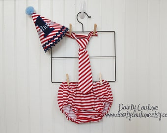 Boy First Birthday Outfit - Hat, bow tie, diaper cover - Red, white, and blue