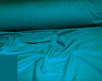 """Cotton Jersey Spandex Dark  Turquoise Stretch  medium weight fabric """"By the Yard""""  uses are:  leggings, workout wear, pants, tops or skirts"""