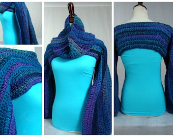 Crochet Shrug with Matching Infinity Scarf - Blue and Purple blend.