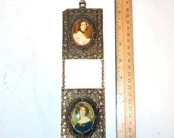 2 vintage framed victorian style portraits of women oval cabochons window rectangular frames with relief raised flowers & chain gold plated