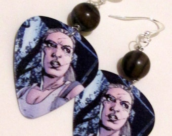 Andrea from The Walking Dead guitar pick hand made wire wrapped pierced dangle earrings by Ziporgiabella