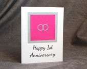 Greeting Card, First Anniversary Card, Two Interconnected Rings, Select Color