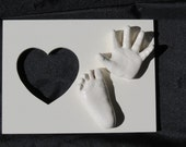 Baby Handprint and Footprint 3D mold and heart frame-pick your color