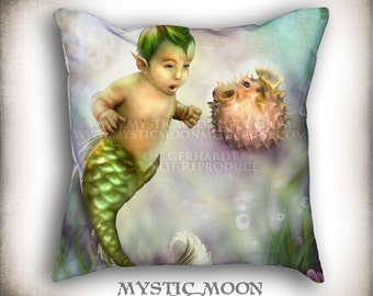 Puffer...PILLOW with Insert... Little Boy Mermaid with Puffer Fish... 18x18 Inch