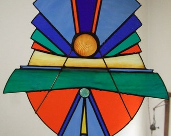 Stained Glass Panel   Bold & Bright   Art Deco Style  Asian Flare