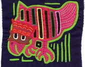 Fanciful Chicken Mola - Hand Sewn Kuna Indian Reverse Applique Textile Art