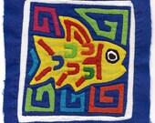 Precious, Primitive Yellow Fish Mola Mini -  Hand Sewn Kuna Indian Applique