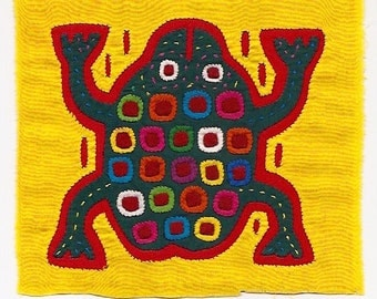 SALE - Super-Special Spotted Frog Mola - Hand Sewn Kuna Indian Applique and Embroidery