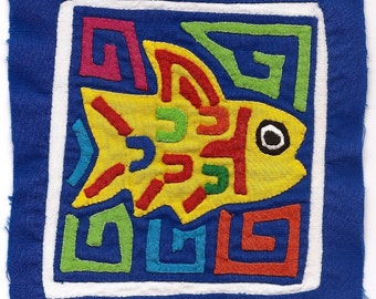 Precious, Primitive Yellow Fish Mola Mini -  Hand Sewn Kuna Indian Applique