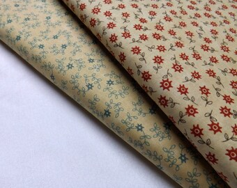 2 Meters of Moda Essence Flowers Vine Teal and Tomato Quilting Sewing Fabric