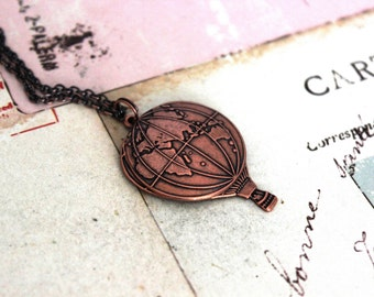 hot air balloon necklace. copper ox jewelry with hemisphere
