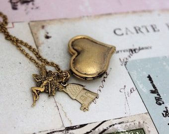 fairy. heart locket necklace in gold ox with fairy house charm
