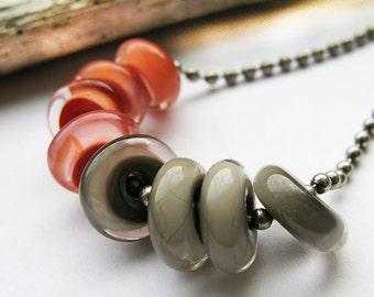 poppy and adobe  // glass discs Lampwork Beads by Ellen Dooley sra