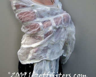 White Nuno Felted Shawl - Think outside the square - Wedding Bridal - Special Occasion - HANDMADE TO ORDER